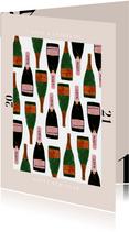 Stijlvolle nieuwjaarskaart met champagne en 2021