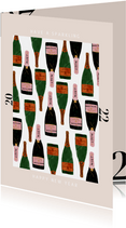 Stijlvolle nieuwjaarskaart met champagne en 2022