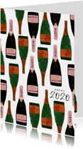Stijlvolle nieuwjaarskaart met champagneflessen en 2020