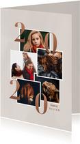 Stijlvolle nieuwjaarskaart met fotocollage en 2020