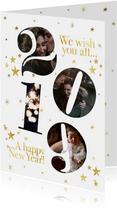 Stijlvolle nieuwjaarskaart met foto's in 2019 en sterren