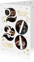 Stijlvolle nieuwjaarskaart met foto's in 2020 en sterren