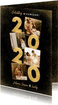 Stijlvolle nieuwjaarskaart met gouden 2020 en fotocollage
