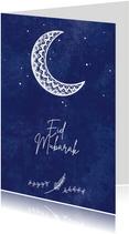 Stijlvolle religiekaart Eid Mubarak met maansikkel