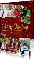 Stijlvolle rode fotocollage kerstkaart met goud en polaroids