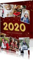 Stijlvolle rode fotocollage kerstkaart met jaartal 2020