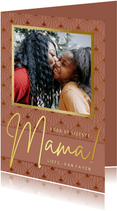 Stijlvolle roze art-deco moederdagkaart met eigen foto