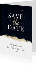Stijlvolle save the date trouwkaart met inkt verf en goud