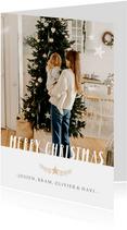 Stijlvolle staande kerstkaart met grote foto en eigen namen