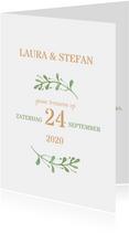 Stijlvolle trouwkaart met takjes