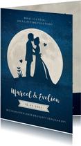 Stijlvolle trouwkaart nieuwe datum met silhouetje en maan