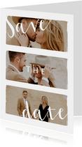 Stijlvolle trouwkaart save the date met fotocollage