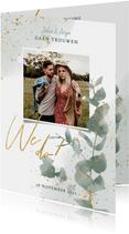 Stijlvolle trouwkaart waterverf, plantjes & gouden spetters