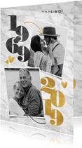 Stijlvolle uitnodiging jubileum met jaartallen en foto's