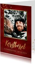 Stijlvolle uitnodiging kerstborrel warmrood met goudlook