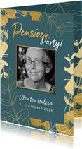 Stijlvolle uitnodiging pensioenfeest met gouden plantjes