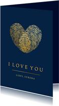 Stijlvolle vaderdagkaart met hart van 2 vingerafdrukken