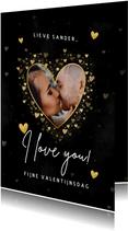 Stijlvolle Valentijnskaart gouden hartjes, foto 'I love you'