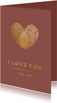 Stijlvolle Valentijnskaart met gouden hart van vingerafdruk
