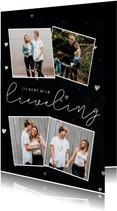 Stijlvolle valentijnskaart met hartjes en fotocollage