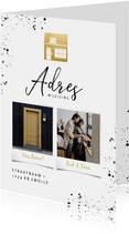 Stijlvolle verhuiskaart foto's gouden huisje en spetters