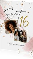 Stijlvolle verjaardagskaart met abstracte vormen en goud