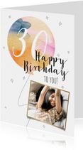 Stijlvolle verjaardagskaart met watercolour ballon en goud