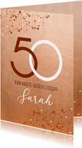 Stijlvolle verjaardagskaart roest spetters 50 jaartal vrouw