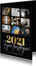 Stijlvolle zakelijke fotocollage kerstkaart met gouden 2021