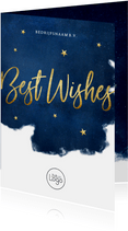 Stijlvolle zakelijke kerstkaart Best Wishes - blauw met goud