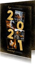 Stijlvolle zakelijke kerstkaart fotocollage gouden 2021
