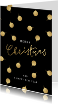 Stijlvolle zakelijke kerstkaart gouden kerstballen