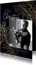 Stijlvolle zakelijke kerstkaart gouden takken en foto