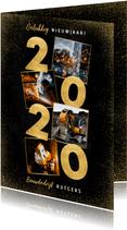 Stijlvolle zakelijke nieuwjaarskaart gouden 2020 en foto's