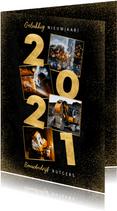 Stijlvolle zakelijke nieuwjaarskaart gouden 2021 en foto's