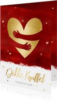 Stijlvolle zomaar kaart met dikke knuffel en gouden hart
