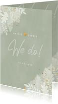 Stilvolle Hochzeitseinladung Dschungelblätter und Foto innen