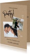 Stilvolle Jubiläumskarte mit Fotos und Party