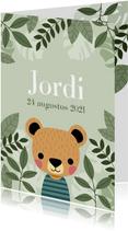 Stoer geboortekaartje met illustratie beertje en plantjes