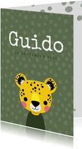 Stoer geboortekaartje met luipaard voor een jongen