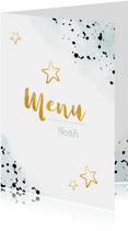 Stoere communie menukaart met verfspetters en gouden sterren
