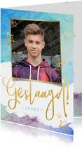 Stoere felicitatiekaart voor een jongen met verflook en goud