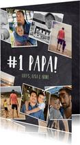 Stoere fotocollage vaderdagkaart met veel polaroids en namen