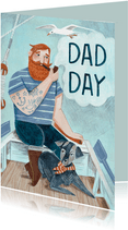 Stoere vaderdag kaart met een zeebonk en een hond