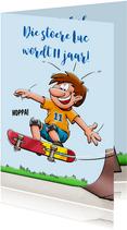 Stoere verjaardagskaart voor jongen met skateboard