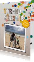 Uitnodigingen - Strandfeestje confetti eigen foto