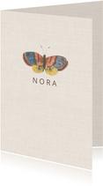 Subtiel geboortekaartje met vintage afbeelding  vlinder