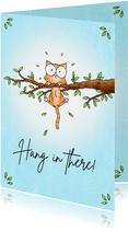 Succes kaart met kitten in de boom - Hang in there!