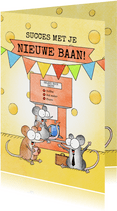 Succes met je nieuwe baan kaart met muizen bij koffiemachine
