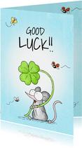 Succeskaart gelukwens met muisje met een klavertje vier